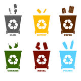 Большие красочные контейнеры для рециркулировать сортировать отхода - пластмасса, g Стоковые Изображения