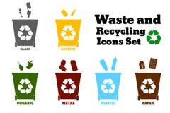 Большие красочные контейнеры для рециркулировать сортировать отхода - пластмасса, g Стоковая Фотография