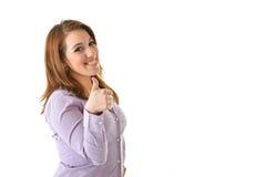 Большие пальцы руки бизнес-леди вверх Стоковые Изображения