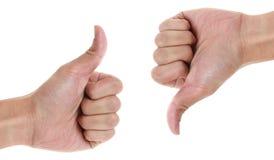 Большие пальцы руки вверх и вниз Стоковое Изображение RF