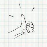 Большие пальцы руки вверх показывать значок doodle Стоковая Фотография RF