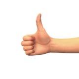Большие пальцы руки вверх по концепции, руке с большим пальцем руки вверх, символ успеха изолированной на белизне Стоковые Фотографии RF