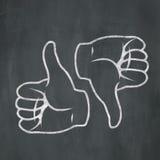 Большие пальцы руки мела вверх вниз иллюстрация вектора