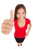 Большие пальцы руки поднимают женщину стоя в полной длине тела Стоковые Изображения