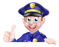 Большие пальцы руки поднимают знак человека полиции Стоковое Изображение RF