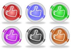Большие пальцы руки поднимают долю как кнопки значка сети иллюстрация штока