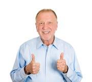 Большие пальцы руки поднимают старика Стоковые Фото