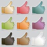 Большие пальцы руки поднимают стикеры Стоковое Изображение RF