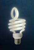 Большие пальцы руки поднимают энергосберегающую лампочку Стоковые Изображения