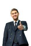 Большие пальцы руки счастливого бизнесмена идя вверх, Стоковое Изображение