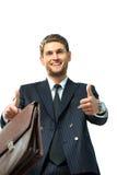 большие пальцы руки человека дела идя счастливые вверх Стоковые Фотографии RF