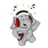 Большие персонажи из мультфильма вектора собрания слонов на изолированной предпосылке нот наушников слушая к Стоковые Фото