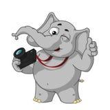 Большие персонажи из мультфильма вектора собрания слонов на изолированной предпосылке Winks фотографа Бесплатная Иллюстрация