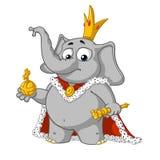 Большие персонажи из мультфильма вектора собрания слонов на изолированной предпосылке король самолюбивый бесплатная иллюстрация