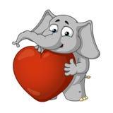 Большие персонажи из мультфильма вектора собрания слонов на изолированной предпосылке Он в влюбленности, он имеет большое сердце Стоковая Фотография RF