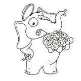 Большие персонажи из мультфильма вектора собрания слонов на изолированной предпосылке Мозг в руке Дает ваш разум Стоковое фото RF