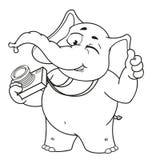 Большие персонажи из мультфильма вектора собрания слонов на изолированной предпосылке Winks фотографа Стоковые Фотографии RF