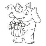 Большие персонажи из мультфильма вектора собрания слонов на изолированной предпосылке Держит подарок, поздравляет Стоковая Фотография RF