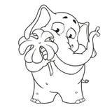 Большие персонажи из мультфильма вектора собрания слонов на изолированной предпосылке Держит клевер для удачи Стоковые Изображения