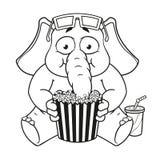 Большие персонажи из мультфильма вектора собрания слонов на изолированной предпосылке Смотреть кино в стеклах 3D есть попкорн Стоковые Изображения RF
