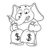 Большие персонажи из мультфильма вектора собрания слонов на изолированной предпосылке деньги серии Сумки владениями с деньгами Стоковое Изображение RF