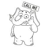 Большие персонажи из мультфильма вектора собрания слонов на изолированной предпосылке звонок коммерсантки предпосылки красивейший Стоковое фото RF