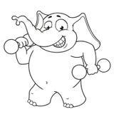 Большие персонажи из мультфильма вектора собрания слонов на изолированной предпосылке Спорт, гантели в руках, фитнес Стоковые Фотографии RF