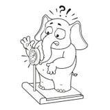Большие персонажи из мультфильма вектора собрания слонов на изолированной предпосылке Весить на масштабах Стоковая Фотография RF