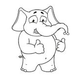 Большие персонажи из мультфильма вектора собрания слонов на изолированной предпосылке Подобия выставок Стоковые Изображения RF