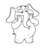 Большие персонажи из мультфильма вектора собрания слонов на изолированной предпосылке Удивленное excited Стоковое Изображение