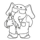 Большие персонажи из мультфильма вектора собрания слонов на изолированной предпосылке Стирать память В черном костюме Стоковые Изображения RF
