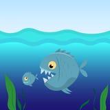 Большие рыбы едят малых рыб Стоковые Фото