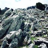 Большие склонные валуны постаретое фото Долина около горы Tahtali Dagi, Турции Стоковая Фотография