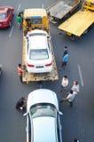 Большие тележки готовые для пересылки автомобилей, в автомобиле после выставки Стоковая Фотография