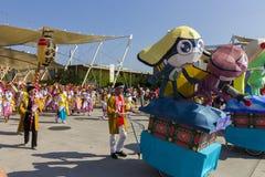 Большие украшения шаржа на японском традиционном параде на ЭКСПО 2015 Стоковая Фотография