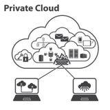 Большие установленные значки, вычислять данных облака Стоковые Фотографии RF