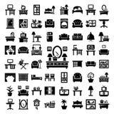 Большие установленные значки мебели Стоковые Фотографии RF