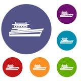 Большие установленные значки powerboat бесплатная иллюстрация