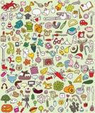 Большие установленные иконы Doodle Стоковое Фото