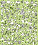 Большие установленные иконы Doodle Стоковая Фотография