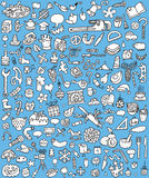 Большие установленные иконы Doodle Стоковые Изображения RF