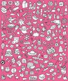 Большие установленные иконы Doodle Стоковые Изображения