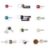 Большие установленные ключи Собрание 12 различное ключей иллюстрация штока