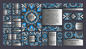 Большие установленные шаблоны Визитные карточки, приглашения и знамена Флористические орнаменты картины мандалы Восточный план ди Стоковое Изображение