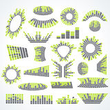 Большие элементы дизайна вектора выравнивателя музыки комплекта иллюстрация вектора