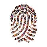 Большие люди pf группы в форме отпечатка пальцев на белой предпосылке иллюстрация вектора