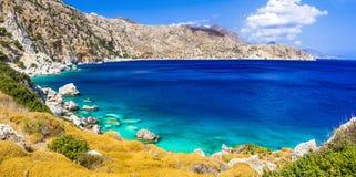 Большинств красивые пляжи Греции Apella в острове Karpathos Стоковое Изображение