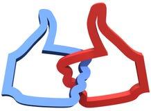 Социальные средства 2 больших пальцев руки подобия вверх Стоковая Фотография RF