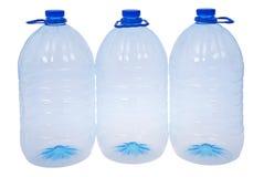 3 больших бутылки воды (путь клиппирования) Стоковые Изображения