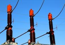 3 больших выключателя в электростанции для продукции электрического Стоковая Фотография RF
